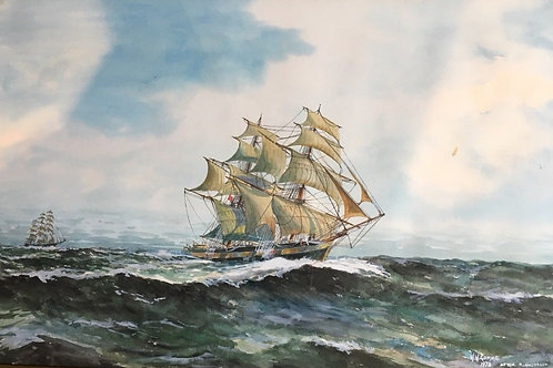 LOVELY WATERCOLOR SHIPS AT SEA BY W.W. GOMME DATED 1973