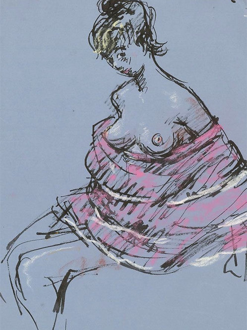 Peter Collins ARCA - c.1970s Pen and Ink Drawing, Female Nude with Pink Wrap