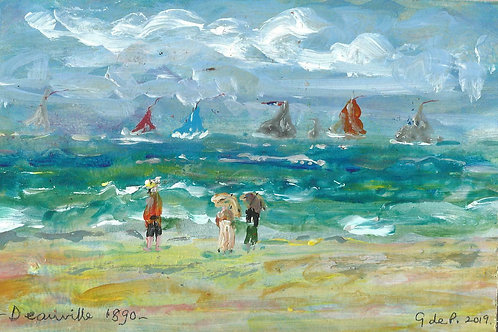 """2019 Acrylic Impressionist Painting """"Deauville 1890"""" by G de P (Bill Payne)"""