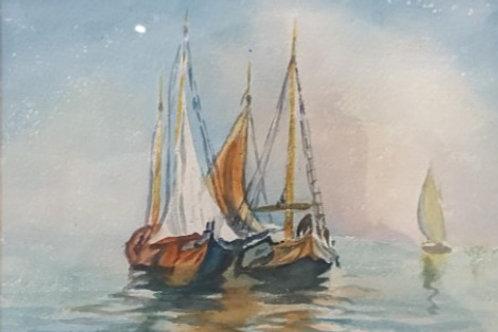 Boats at Sea, 1950's Watercolour