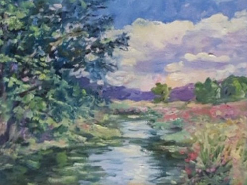 Original Contemporary Oil Painting, River Chess with Violet Flowers