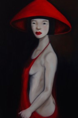Oriental lady wearing red hat and dress