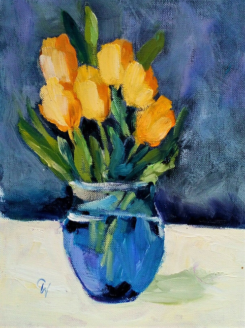 Original Oil Painting Impressionistic - 'Yellow Tulips'