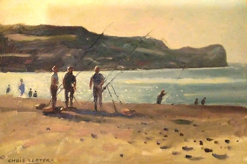 Oil on Board Painting 'Late Night Fishing' by Chris Slater