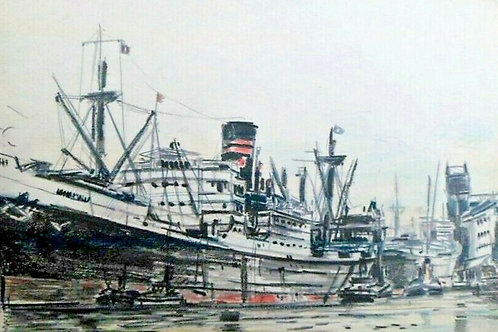 H.G. MOORE - SHIP WITH RED FUNNEL IN LIVERPOOL DOCKS C 1950 - VINTAGE ORIGINAL