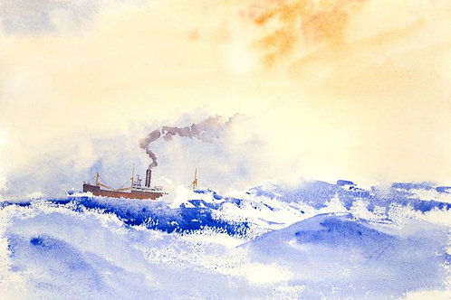 Contemporary Watercolour - Trawler Ship on Rough Seas