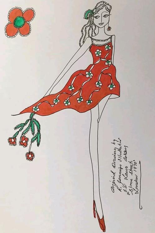 Fashion Drawing by Laura Ashley Illustrator Roz Jennings