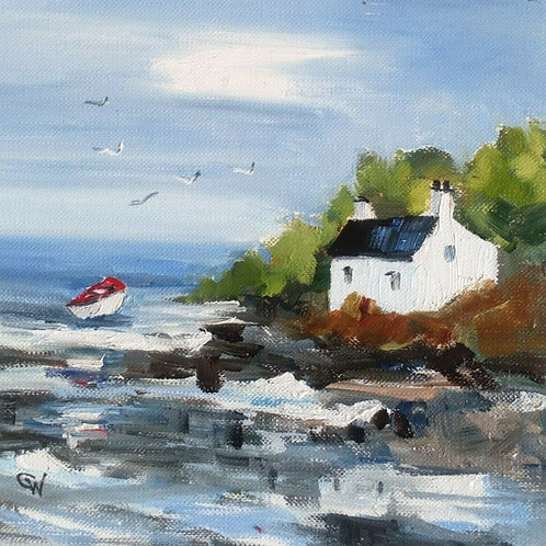 "Original Oil Painting - ""Seascape With Cottage"""