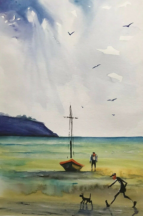 Seascape Original Watercolour by James Ndokera