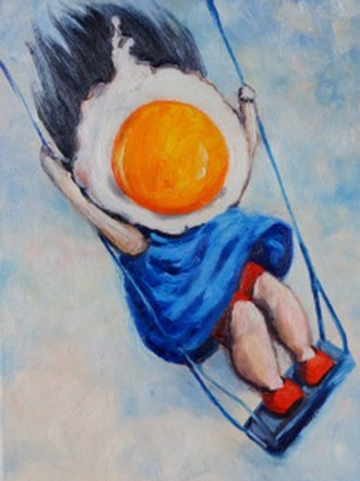 Egg Girl on Swing