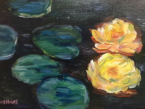 Waterlilies - Original Oil on Board. Impressionism