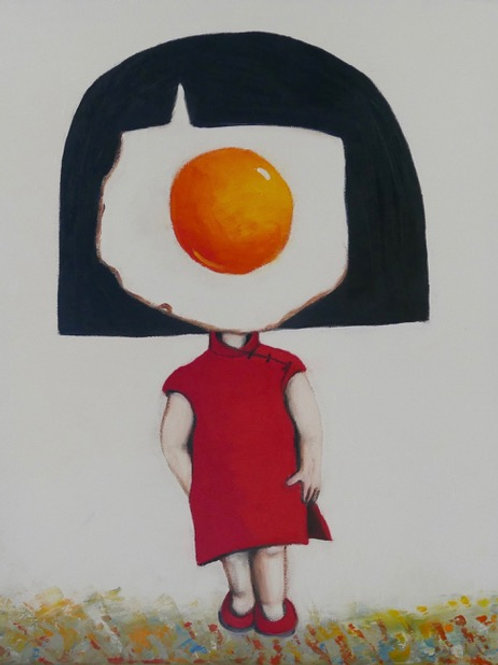 Egg Girl in Red Chinese Dress