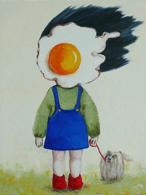Egg Girl Walking Her Dog