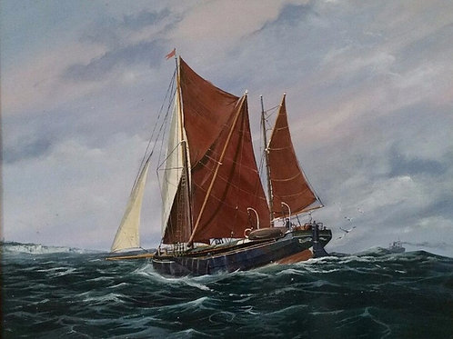 Barge at Sea - Beautifully painted in oil by A.L.Bryant