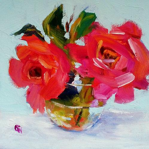 Original Oil Painting Impressionistic - 'Pink Roses'