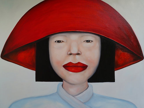 Oriental lady wearing a red hat