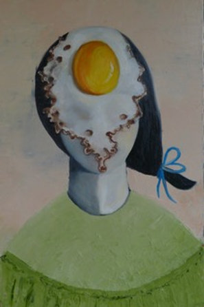 Egg lady with blue ribbon