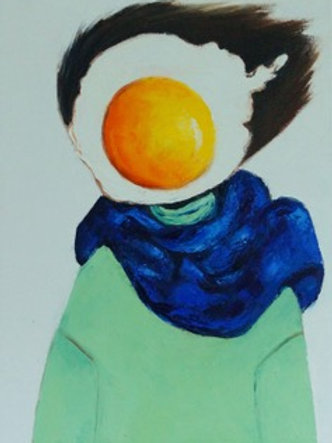 Egg Girl in Blue Scarf