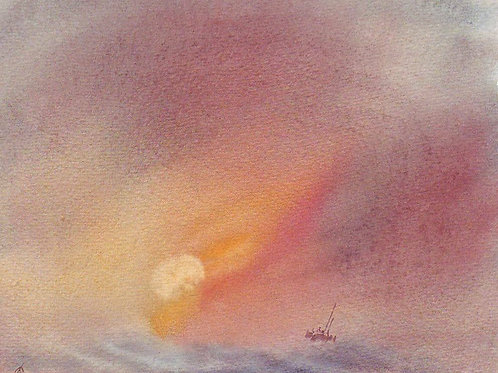 Original Sailing Marine Watercolour by artist T. CASTLE