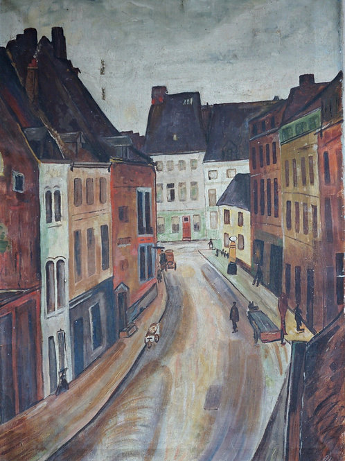 Naive painting of an early 20th Century French Street Scene