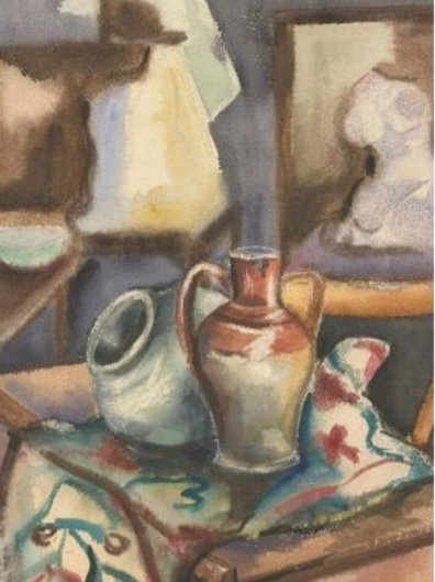 Contemporary Watercolour - Still Life Study of Ceramics in a Vibrant Interior