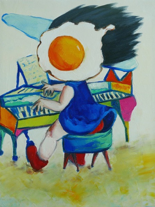 Egg Girl Playing the Piano