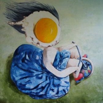 Large Painting of Egg Girl on Bike