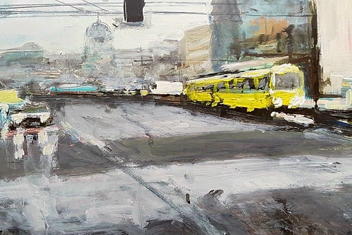 Tram In Winter by Paul Mitchell