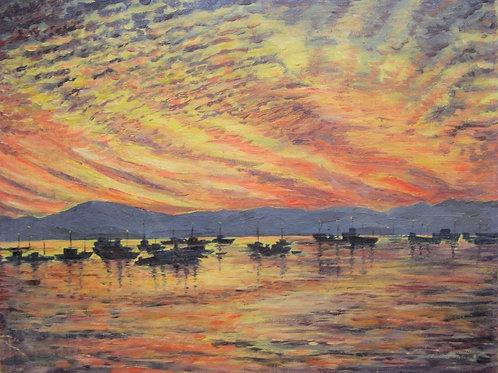 "British Post-impressionist oil ""Stunning day-break over lake scene"""