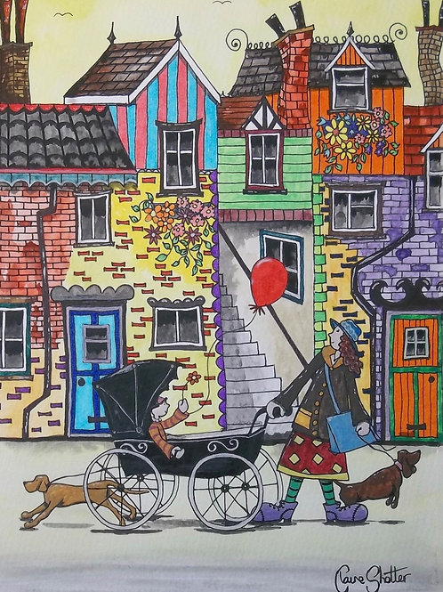 Streets. Dogs. People - Original by Claire Shotter