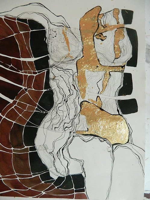 Abstract Drawing with Female Nude