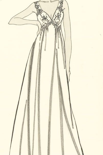 Contemporary Pen and Ink Drawing - White Dress Fashion Illustration