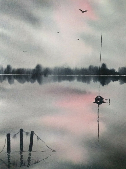 Original Watercolour Painting - At Day's End, Calm Waters