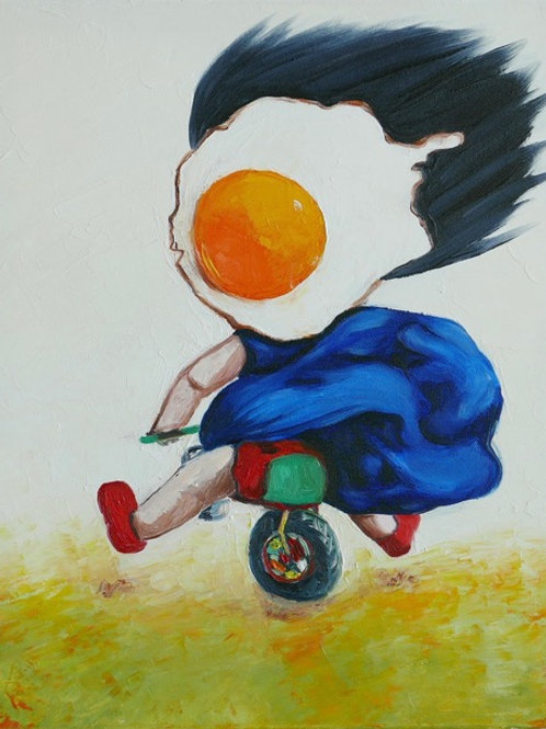 Egg Girl on Bike