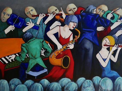 Sax and Flute Players - Oil on Canvas