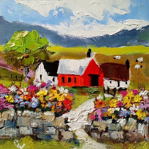 Landscape with Farm & Flowers