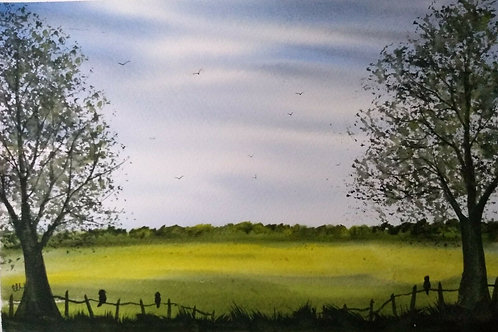 Original Watercolour painting - The View Over The Fields.