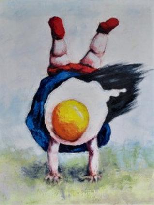 Egg Girl Hand-Standing