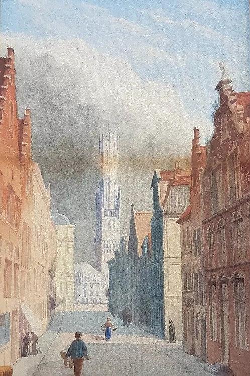 Mid-19th C Watercolour of a Continental Street Scene Grand Tour c1880