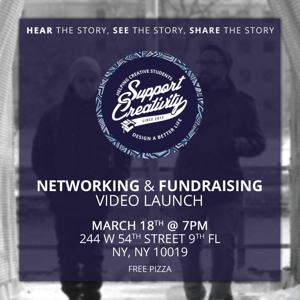 Hear the story, see the story, share the story - Support Creativity Networking & fundraising video launch - march 18th 7pm - 244 west 54th st, 9th floor, new york, ny 10019.