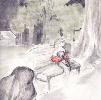"""Painting #2 from """"The Shadow Man,"""" Amelia's first novel"""