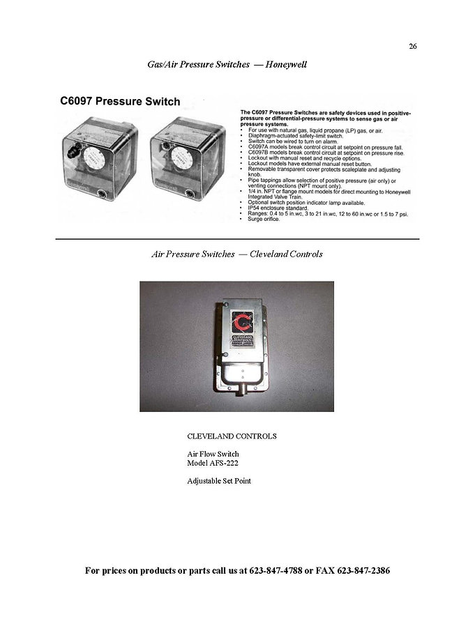 Gas/Air Pressure Switches - Honeywell
