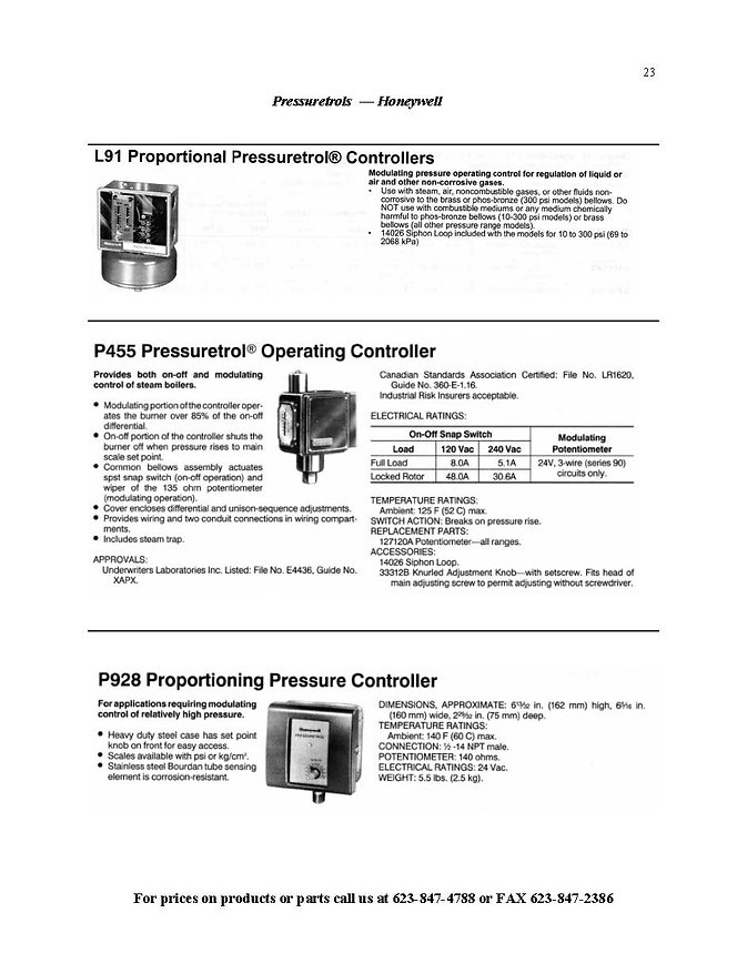 Pressuretrols