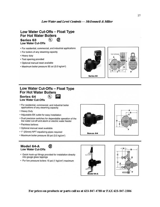 Low water Cut-offs - hot water boilers