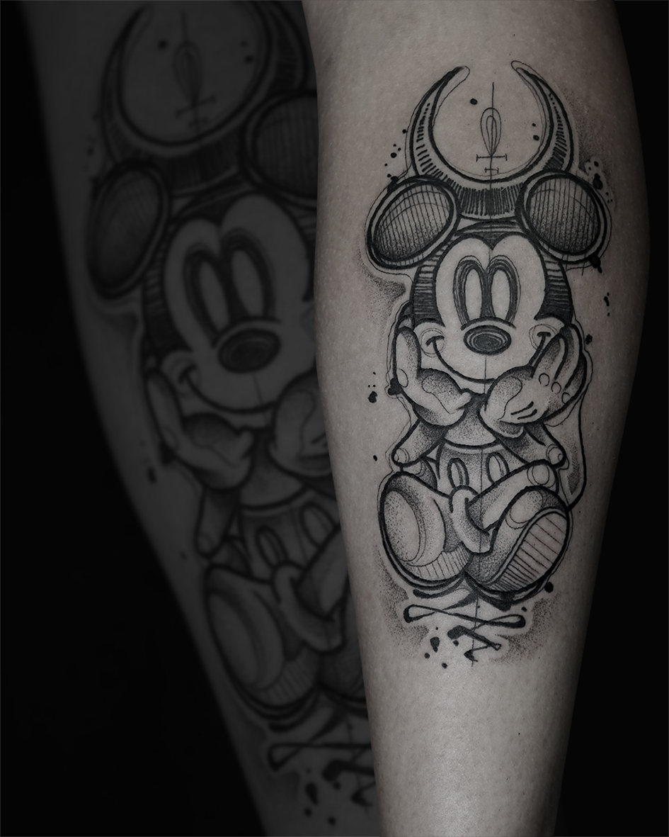 Tattoo Zincik - Mickey Mouse dark tattoo