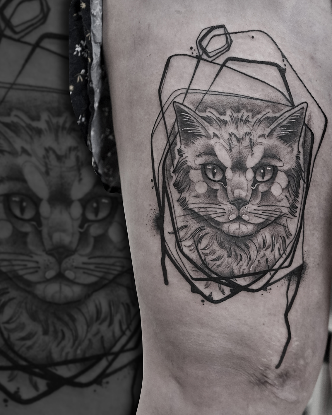 Tattoo Zincik - cat abstract tattoo desi