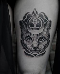 Tattoo Zincik - cat moon tattoo