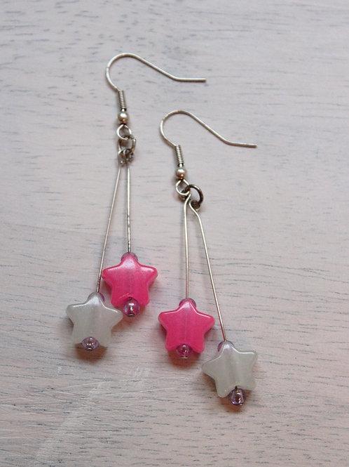 Pink & white star earrings