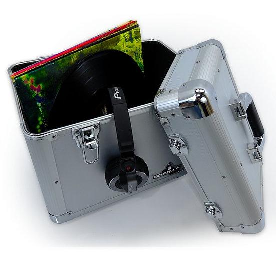 """Gorilla 12"""" LP Vinyl Record Storage Case (Silver) Holds 60"""
