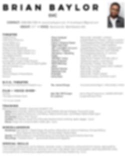 Brian Baylor Theatrical Resume (Jan 2020)